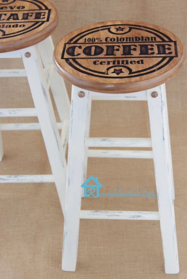 Columbian coffee stenciled stools. Such a cool DIY.