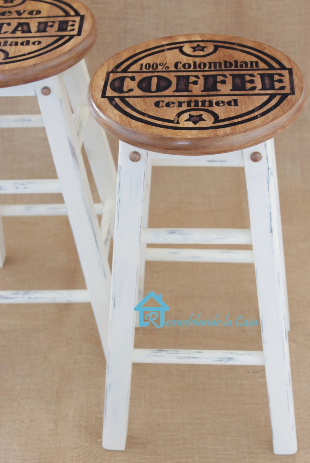 DIY Kitchen Decor Projects. Columbian Coffee Stenciled Stools. Such A Cool  DIY.