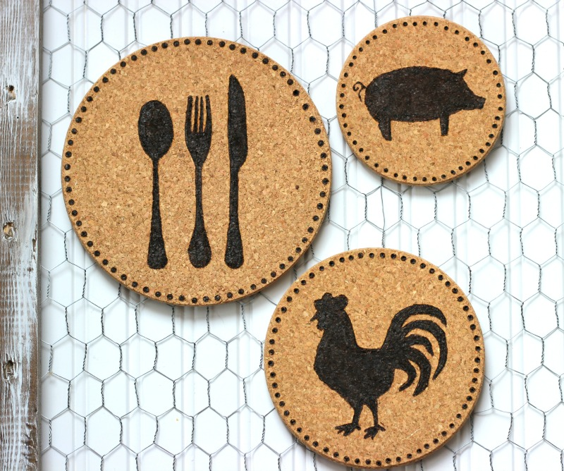 Cork trivets. Styled after wood burned trivets, these cork trivets are easy to make.