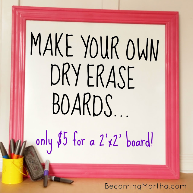 DIY Dry Erase Boards via Becoming Martha