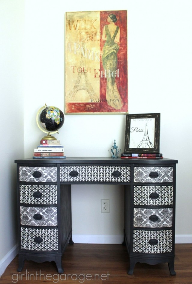 Decoupage paper desk, plus more than a dozen other ways to decorate with scrapbook paper