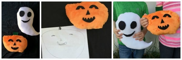 Handmade Halloween pillows designed and made by kids. Great fall activity.