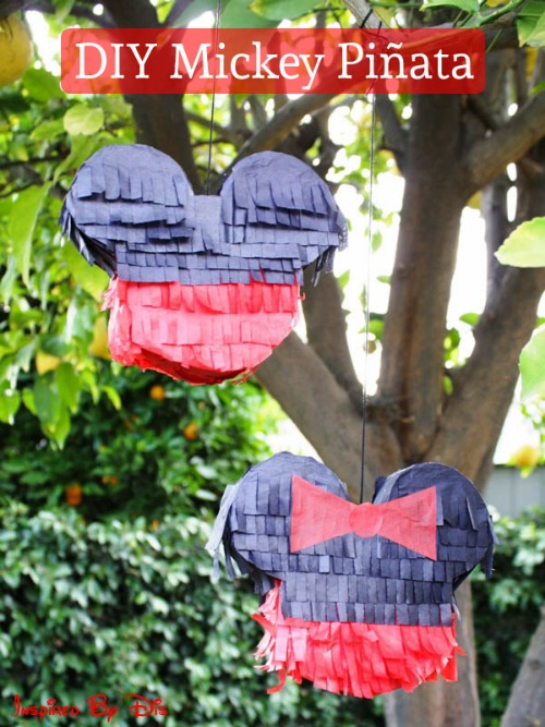 DIY Mickey and Minnie Pinata. Plus 15 Mickey and Minnie Mouse Craft Projects - So many fun ideas here. Great for trips to Disney or at-home parties.