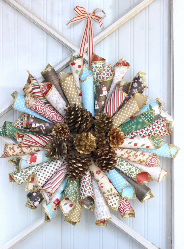 Paper Pinecone Wreath