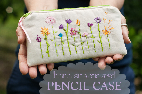 Pretty Hand Embroidered Pencil Case