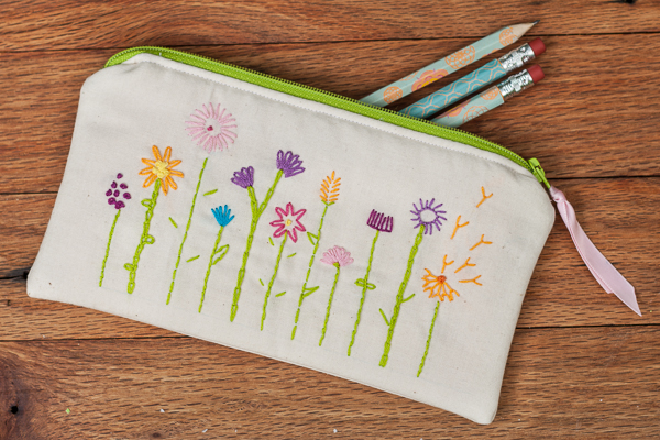 Hand Embroidered Pencil Case