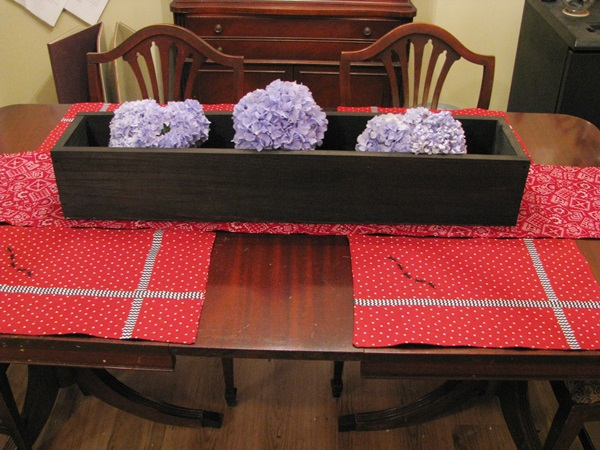 Stained Wood Box Table Centerpiece
