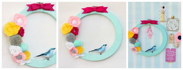 Pom Pom Embroidery Hoop Wreath