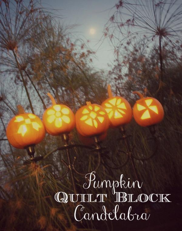 Pumpkin quilt block candelabra
