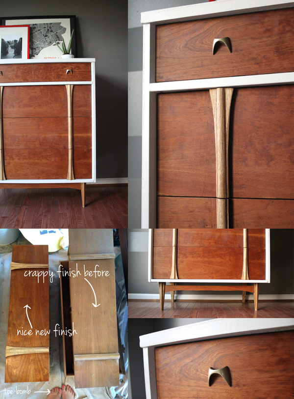 Midcentury modern dresser upcycle