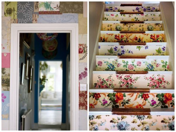 Scrapbook paper decor - stairs and walls