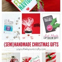 A dozen great semihandmade gifts for the holidays. Many of these items were purchased at the store and personalized with a handmade touch. Perfect for busy/working moms.