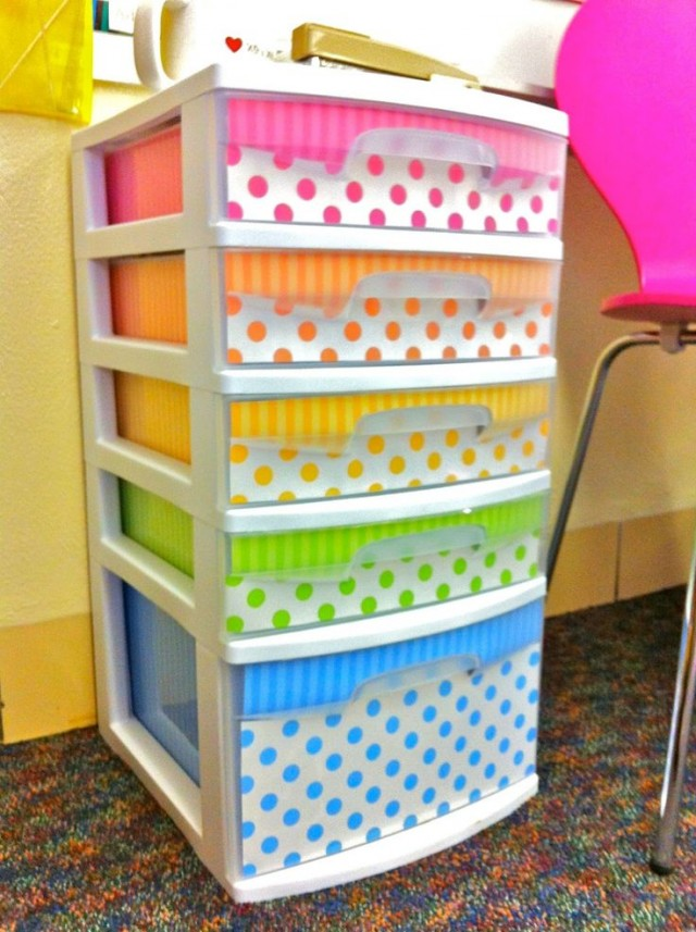 Scrapbook paper lined storage drawers, plus more than a dozen other ways to decorate with scrapbook paper