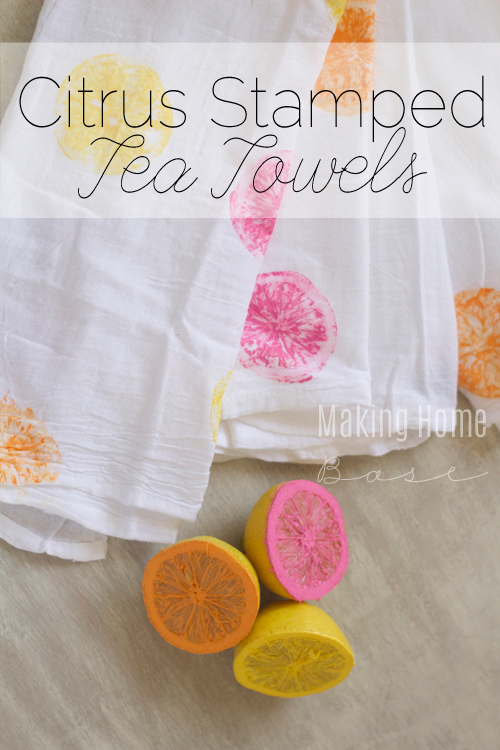 Summery citrus tea towels. This is such a fun DIY. Pretty and the kids could probably help out!