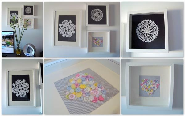 Upcycled Button and Crochet Artwork