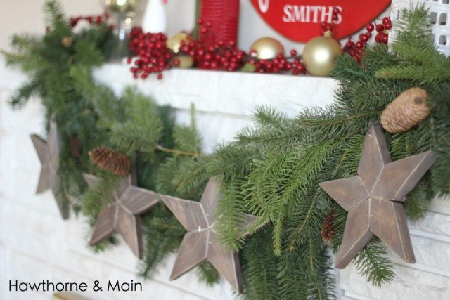 These DIY wood stars create the perfect rustic holiday look. This site has a full tutorial for creating the wood stars out of scrap wood.