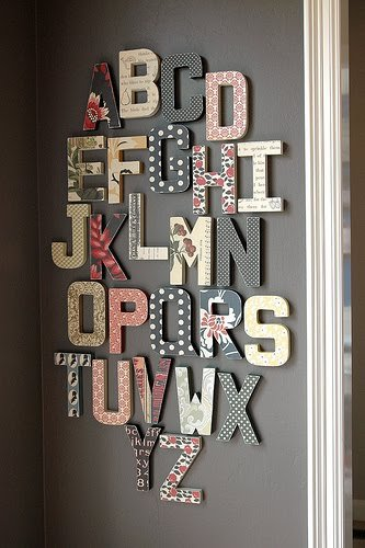 Alphabet wall, plus more than a dozen other ways to decorate with scrapbook paper