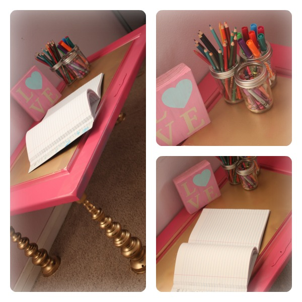 Child's Desk from Candlesticks and Cupboard Door