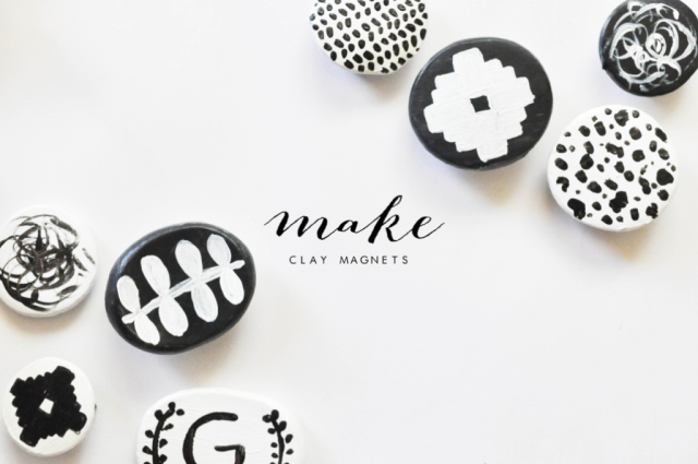 Modern clay magnets. These are a great addition to a fridge or magnet board.