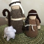 crocheted nativity in stable