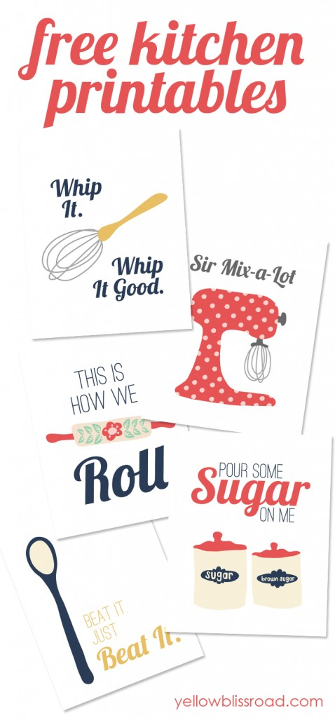 Free kitchen printables. These are so cute! I can't wait to hang them.