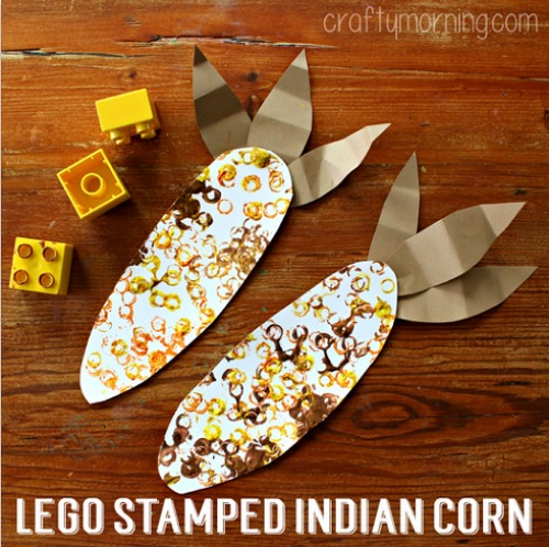 Lego stamped Indian corn. Now this is a craft that kids could get into.