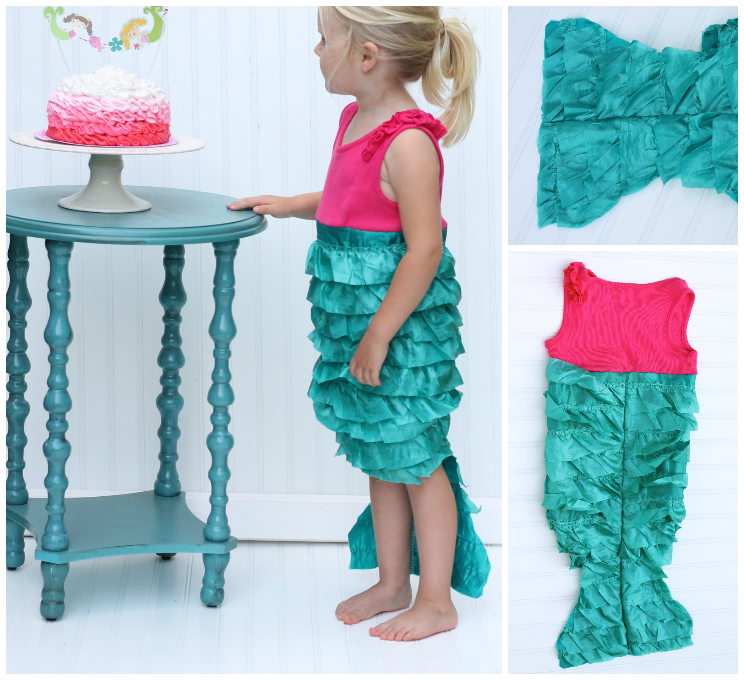 It to an old tank top and sewed it into a mermaid shaped dress