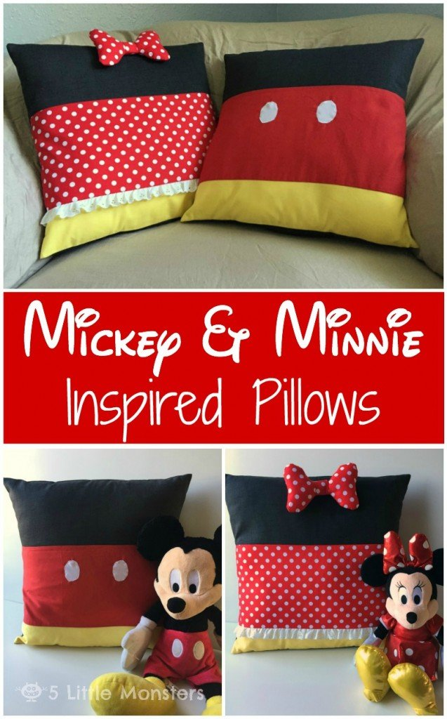 DIY Mickey and Minnie Mouse Pillows. Such a cute idea!