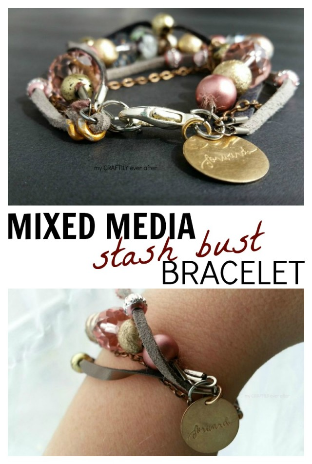 Mixed Media Bracelet. This awesome bracelet was made with random extras and pieces of older, broken jewelry. So pretty!