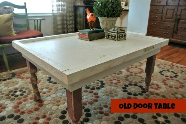 upcycled old door to coffee table